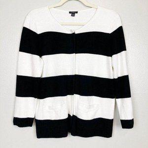 ANN TAYLOR - Black & White Striped Cardigan